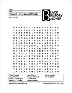 6 Printable Word Games for Black History Month: Famous Firsts Wordsearch