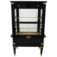 Louis XVI Style Gilt-Bronze Mounted Black Lacquered Bar Cabinet by Maison Jansen