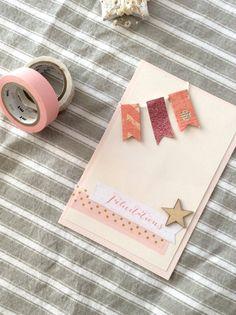 Carte de naissance - scrap - félicitations - papeterie - bébé fille - rose - glitter - étoile - bois - pois - doré - nude - masking tape - chevron