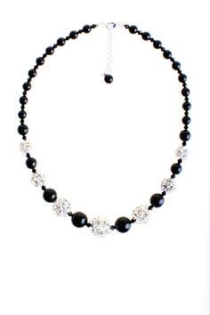 Collar plata y negro de cristal