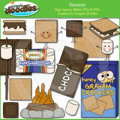 Smores Clip Art by ScrappinDoodles on Etsy, $4.00