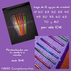 Juego de 12 agujas de ganchillo con tu nombre o iniciales grabadas.    12 agujas de crochet en aluminio.  Medidas: 2.0, 2.5, 3.0, 3.5, 4.0, 4.5, 5.0, 5.5, 6.0, 6.5, 7.0 y 8.0.