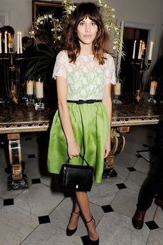 """""""Elferlijk"""". Alexa Chung in absinthe green dess from the Valentino cruise collection 2013"""