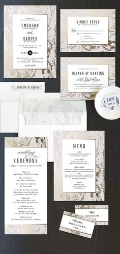 The marble interiors trend hits stationery. Make your theme a contemporary classic with Modern Marble wedding invitation design by Minted artist Kelly Schmidt.