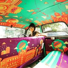 Pimp my (taxi) ride - I reckon cabs in London should get in on this: A Mumbai-based design firm called @taxifabric is promoting the work of local designers by covering every inch of a vehicles interiors with fabric. Such a great idea! #craftmystitchup #textiles #fabric #taxi #taxidesign #design #creativity #intagood #bestoftheday #picoftheday #pimpmyride