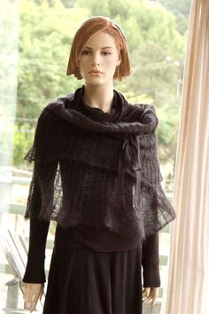 Knit Capelet Poncho Cowl Hoodie Charcoal Grey by MurielleKnitwear