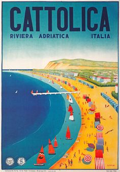 Vintage 1930's Italian Italy Cattolica Travel Poster