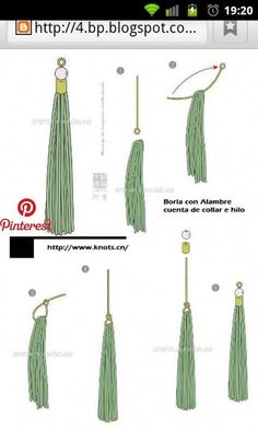 Como hacer una borla co un alambre, cuenta de collar y bola tassel using eye pin wire and a bead cap/cone How to make tassel earrings- genius! use an eyepin to pull tassel together, much neater. super easy love the eye pin! Diy Tassel Earrings, Tassel Jewelry, Diy Necklace, Leather Jewelry, Beaded Earrings, Wire Jewelry, Jewelry Crafts, Handmade Jewelry, Necklace Holder