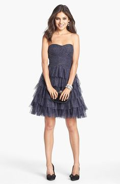 Hailey by Adrianna Papell Tiered Metallic Mesh Fit & Flare Dress available at #Nordstrom