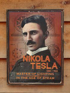 NEW Vintage wooden sign ' Nikola Tesla ' original by VASSdesign