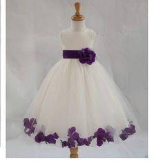 Ivory Flower Girl Petals dress pageant wedding von ekidsbridalusa