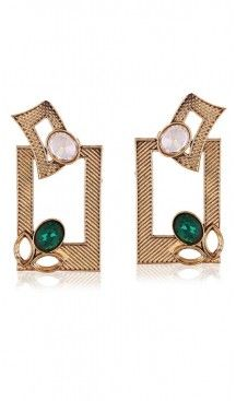 Beige and Green Color Artificial Fashion Earring | FH405965688