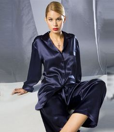 Silk Pyjama Maspalomas at inSilk Satin Sleepwear, Satin Pajamas, Nightwear, Blue Satin, Silk Satin, Satin Bluse, Hoodie Outfit, Pajamas Women, Pajama Set