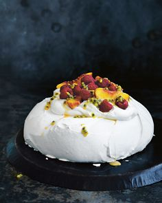 There's nothing that beats a good old classic Kiwi pav for dessert. Serves 8-10 Ingredients: 1 quantity no-fail meringue mixture (see basic recipe) 1½ cups (375ml) single (pouring) cream,whipped Raspberries, passionfruit pulp and slicedpeaches, to serve Method: 1. Preheat oven to 150°C (300°F). Using a pencil, draw a 20cm circle on a sheet of baking paper. …