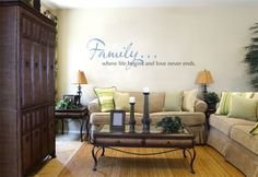 Family...where life begins and love never ends. Family Room Wall Decal
