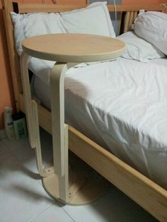 Ikea frosta bedside table hack you could have a small table between your bed and the wall, slide it back and forth Ikea Table Hack, Bedside Table Ikea, Ikea Chair, Diy Chair, Desk Chairs, Office Chairs, Upcycled Furniture, Diy Furniture, Frosta Ikea