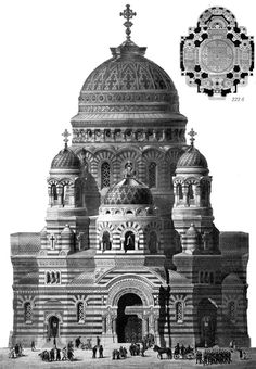 Competition design for the church of the Savior on the Blood in 1882, Russia