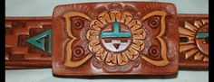 Leather tooled and hand painted belt with matching buckle by Chambers of Phoenix