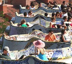 Parque Guell, Barcelona, Spain. incredible mosaics throughout the park