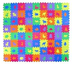 """Animal Zoo Educational Foam Puzzle Floor Mat for Kids + 72 Pieces 6""""x6"""" Squares"""