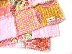 Baby Rag Quilt - Eva Collection Rags to Riches Blanket - Reversible Peacock, Floral and Polka Dots with Pink Squares
