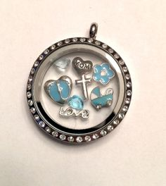 Blue Baby Feet Floating Charm for Living Memory Locket Baby Floating Charms