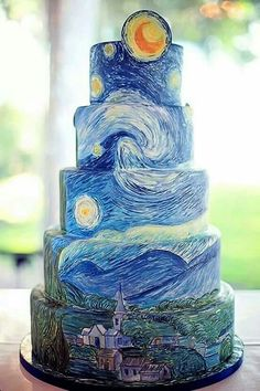 Starry Night cake inspired by Van Gogh's painting. .by Ann Elizabeth cakes