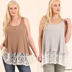 9c22927d35161 Umgee-WC0086 Mocha or Gray tank with lace available at Trees n Trends Mocha