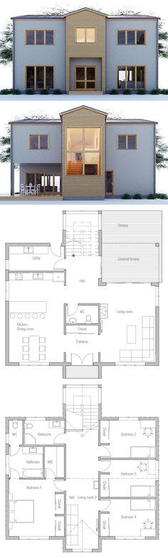 Architecture House Plan, Home Plans, Planta de Casa, Planta de Casa Modern House Plans, Small House Plans, Modern House Design, House Floor Plans, Casas Containers, Villa, House Blueprints, Sims House, Facade House