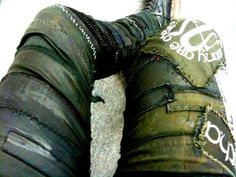 Great use of straps, scraps, and patches. Just sew onto a pair of lightweight pants.