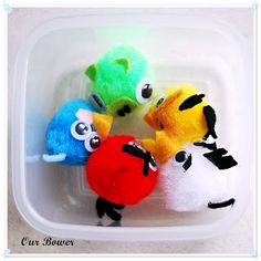 Angry Bird characters from pompoms