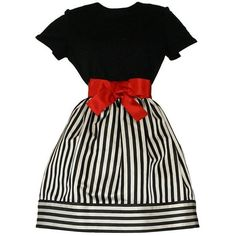 Preowned Bill Blass Vintage Black & White Stripe Dress W/ Red Bow Belt ($995) ❤ liked on Polyvore featuring dresses, white, black and white stripe dress, stripe dresses, black white dress, vintage dresses and black and white striped dress