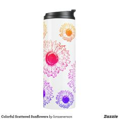 Shop Colorful Scattered Sunflowers Thermal Tumbler created by loraseverson. Sunflower Gifts, Custom Tumblers, Gradient Color, Floral Flowers, Sunflowers, Rainbow Colors, Blossoms, Pink Purple, Design Trends