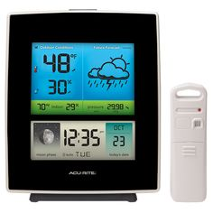 The #AcuRite Digital Weather Station uses patented Self-Calibrating Technology to provide your personal forecast of 12 to 24 hour weather conditions.   The illuminated color LCD screen includes indoor / outdoor temp & humidity, moon phase, barometric pressure with weather trend indicator, Intelli-Time clock and calendar. Get it on AcuRite.com: http://bit.ly/1HqdsA0