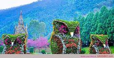 Flower Owl Sculptures, Nantou County, Taiwan