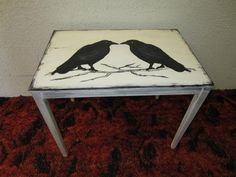 Wooden hand-painted crow table I made