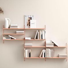 String Pocket is a complete shelving package with two panels and three shelves. You can choose among a range of colours and materials. Small Bookcase, Large Shelves, Wooden Shelves, Ikea Wall Shelves, Storage Shelves, String Pocket, String Regal, String Shelf, String System