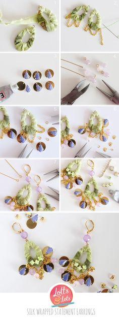 Silk wrapped statement earrings