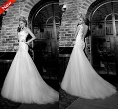 2014 New Autumn Wedding Dresses Hot Mermaid Backless Appliques Sexy Wedding dress High quality Famous Designer Free shipping