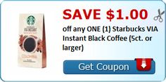New Coupon!  Save $1.00 off any ONE (1) Starbucks VIA Instant Black Coffee (5ct. or larger) - http://www.stacyssavings.com/new-coupon-save-1-00-off-any-one-1-starbucks-via-instant-black-coffee-5ct-or-larger/