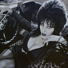 Elvira lounging in a vintage convertible. Her eyes are darkly outlined and she wears many bracelets. Title: Mistress of the Dark Artist: Mike Bell Made-to-order giclee fine art reproductions on canvas