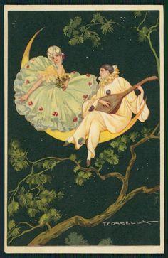 SG Corbella Art Deco Pierrot and Moon Serenade Lady Original Old 1920s Postcard | eBay