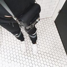 T by Alexander Wang sweatpants / Lacoste sneakers