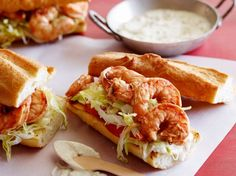Grilled Shrimp Po' Boys bring serious flavor. The shrimp is marinated in paprika, cayenne, Worcestershire and hot sauce and served on a toasted baguette which adds a satisfying crunch.
