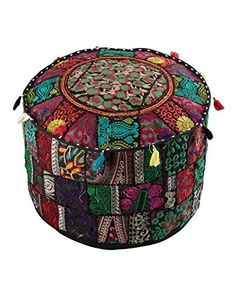 """Decorative Home Black Indian Pouf, Foot Stool, Round Ottoman Cover Pouf,Traditional Handmade Patchwork Ottoman Cover,Black Indian Cotton Cushion Ottoman Cover 18 x 14"""" inches #Decorative #Home #Black #Indian #Pouf, #Foot #Stool, #Round #Ottoman #Cover #Pouf,Traditional #Handmade #Patchwork #Cover,Black #Cotton #Cushion #inches"""