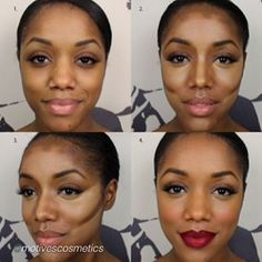 Contouring Dark Skin Tones. Lipstick colour is a gorgeous deep red