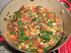 Dr Furhman's G-BOMBS soup (Greens, Beans, Onions, Mushrooms, Berries & Seeds or Nuts)