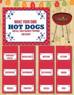 """""""Hot dog"""" bar for puppy party  I don't know...love that it involves """"dog"""" but not a fan of hot dogs and all the crap that goes with them...I wonder if I could get away with pigs in a blanket, but made with either half a hot dog or stick with sausage and just calling it """"Pups in a blanket"""""""