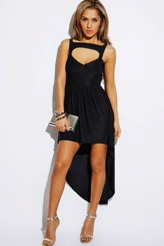 #1015store.com #fashion #style black cut out sweetheart high low party dress-$20.00