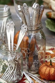 """Serve table ware in mason jars for a buffet style dinner. I had a great aunt that kept hers on the table like this before it was """"chic""""!"""